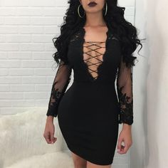 Lace dress outfit - Sexy Lace Up Sheer Splicing Bodycon Dress – Lace dress outfit Sheer Mini Dress, Bodycon Dress With Sleeves, White Mini Dress, Lace Dress, Dressy Outfits, Sexy Outfits, Casual Dresses For Women, Sexy Dresses, Fashion Dresses