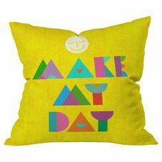 """Multicolor block letters adorn this brightly-hued pillow designed by artist Nick Nelson for DENY Designs. Made in the USA.   Product: PillowConstruction Material: PolyesterColor: MultiFeatures:  Insert includedDesigned by Nick Nelson for DENY DesignsMade in the USA Dimensions: 18"""" x 18""""Cleaning and Care: Machine wash"""