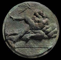 Mirror cover with Eros and Erotic scene, symplegma, Hellenistic period, 2nd century B.C. Museum Fine Arts Boston