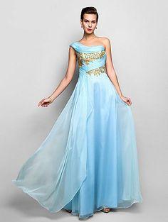 Sheath/Column One Shoulder Floor-length Chiffon Prom Dress