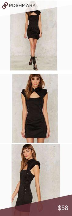 c67adea614 The Samurai Dress comes in black and features a mandarin