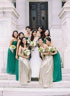 Green + Gold Modern Washington DC Wedding – Style Me Pretty Teal And Grey Wedding, Emerald Green Weddings, Gold Wedding Colors, Something Blue Wedding, Vintage Wedding Theme, Turquoise Weddings, Wedding Coral, Dream Wedding, Modern Bridesmaid Dresses