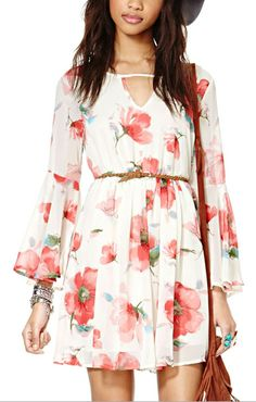 Red Floral Chiffon Dress