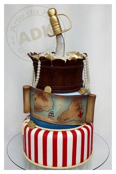 Pirates cake  Very clean crisp lines and colours! Perfect!