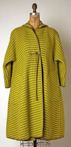 Bonnie Cashin ~ Fabulous ensemble consisting of a Chartreuse & olive tweed coat with matching wool jersey dress, both bound in leather. F/W 1966-67 ~ Amazing color combo and love the lines of the coat!
