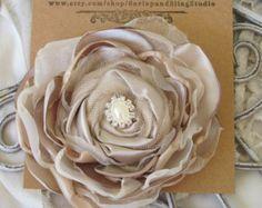 Bridal Hair Flower Fabric Flower Hair by BurlapandBlingStudio