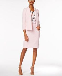 Kasper Shawl-Collar Blazer, Keyhole Shell & Pencil Skirt - Suits & Suit Separates - Women - Macy's