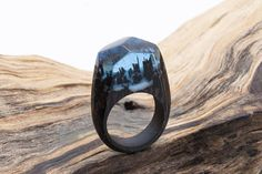 Soul of the Forest wooden resin ring. Eco epoxy jewelry. Green