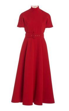Satin Midi Dress, Crepe Dress, Belted Dress, Camilla Dress, Emilia Wickstead, Scarf Dress, Blush Dresses, Elegant Outfit, Ladies Dress Design