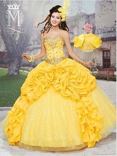 e6e7553adaa Attractive Sweetheart Yellow Shiny Quinceanera Dresses With Jacket Fold  Beads Floor Length Sexy Sweet 16 Prom