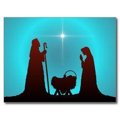 Nativity Silhouette | NATIVITY SILHOUETTE & STAR by SHARON SHARPE Postcards from Zazzle.com