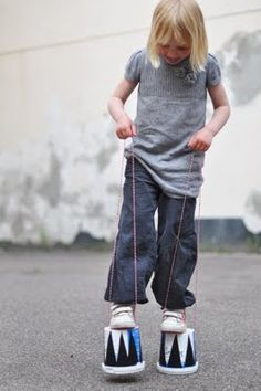 Boredom Buster- Make stilts from recyclables.  These will keep them entertained for a bit