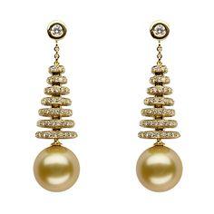 Baggins' South Sea pearl earrings Pearl Drop Earrings, Stone Earrings, Pearl Jewelry, Indian Jewelry, Gold Jewelry, Beaded Jewelry, Jewelery, Pearl Love, Golden South Sea Pearls
