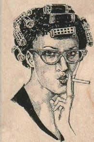 @Hannah Pandolph Retro woman in curlers smoking cigarette  stamp  wood Mounted   rubber stamp    stamp number 18412.