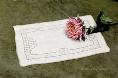 Antique Linen Embroidered Placemat / Serving by NorthMajestyTrail