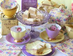 Vintage lemon and lavender bone china tea sets and tea tins with afternoon tea treats!