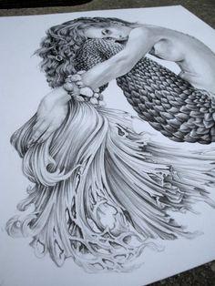 Items similar to Mermaid - Illustration - Black and White - Woman - Portrait - Art Siren on Etsy Realistic Mermaid Drawing, Mermaid Drawings, Beautiful Mermaid Drawing, Mermaid Tattoo Designs, Mermaid Tattoos, Art Vampire, Vampire Knight, Female Portrait, Portrait Art