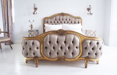 Gold French Versailles bed upholstered button 5ft- Stunning French bed enhanced with gold carved ornate detailing