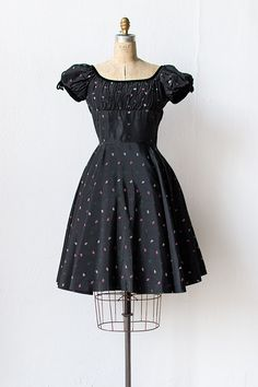 vintage 1950s taffeta black smocked party dress | Vicomte de Rose Dress