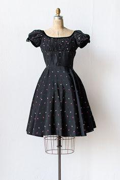 vintage 1950s taffeta black smocked party dress | Vicomte de Rose Dress