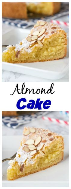 Almond Cake - a super moist and delicious almond flavored cake, topped with sliced almonds and powdered sugar.  A decadent cake that will please everyone!