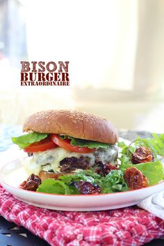 Bison Burger (1lb Ground Bison, 1 egg, 1/4 C Panko bread crumbs, 1/2 C chopped red onion, splash of Worcestershire, and 5 T of milk)