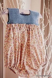 Las coletas de Marisina: Vestido y pelele de estampado liberty con canesú de punto Summer Knitting, Knitting For Kids, Baby Knitting Patterns, Crochet For Kids, Crochet Baby, Little Dresses, Girls Dresses, Knit Baby Sweaters, Girls Rompers