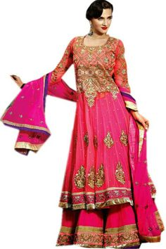 Pink Net Anarkali Suit with Zari Work,Patch Work,Lace Work and Embroidered