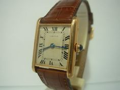 vintage cartier tank with alligator band