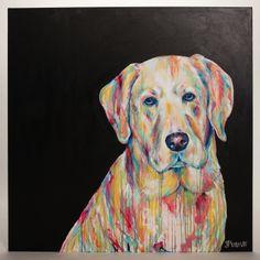 "Original Class Favorite Labrador Dog Painting 48x48"" painting by Jennifer Moreman. $2,800.00, via Etsy."