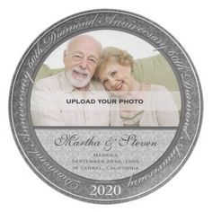 homemade 60th wedding anniversary decorations | 60th Diamond Wedding Anniversary Photo Plate