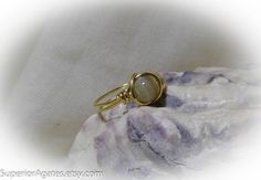 Wire Wrapped Brass Agate Ring size 7 by superioragates on Etsy