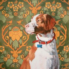 Brittany spaniel portrait by Alina Kremer of Michi Design.  I need this artist to paint Butterscotch!!