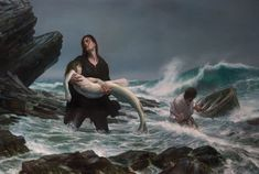 Painting Donato Giancola Fishing Sea Storm A Mermaid Wallpapers Fantasy Creatures, Mythical Creatures, Sea Creatures, Artwork Fantasy, Fantasy Art, Mermaid Illustration, Fantasy Illustration, Karl Kopinski, Jurassic Park 3