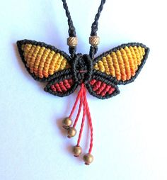 micro macrame butterfly necklace colorful hand by Mediterrasian.