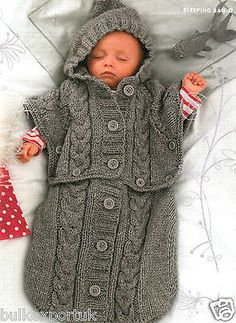 Aran baby sleeping bag knitting pattern poncho cocoon fit up to 6 months Nr.2 in Crafts, Crocheting & Knitting, Patterns | eBay