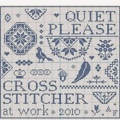 N e e d l e p r i n t: Quiet Please - Cross Stitcher At Work - Free Chart
