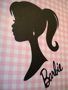 Barbie Silhouette Die Cut Paper Cuttings 9 inch tall to frame. $2.50, via Etsy.