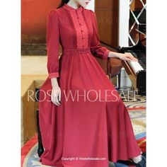 Lacework Splicing Vintage Style Stand Collar Long Sleeve Women's Maxi Dress from Rose Wholesale