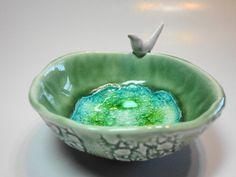 Little Bird  Ceramic Bowl with Reclycle Glass by lemonglaze
