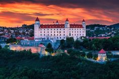 Photo about The castle in Bratislava (Slovakia) at sunset. Image of cityscape, glowing, history - 25192407 River Cruises In Europe, European River Cruises, Avalon Waterways, Danube River Cruise, Bratislava Slovakia, Hotels, Best Sunset, Eastern Europe, Strand