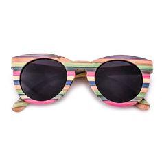 AW006 Green Tone Colorful Bamboo Popular Keyhole Sunglasses Polarized Sunshades