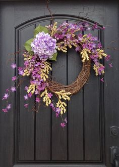Spring Wreath Wispy Cream Berry Wreath Summer Wreath Grapevine Door Wreath Decor Purple Florals Purple Hydrangea Indoor Outdoor Decoration