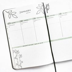 Bullet journal weekly layout, plant drawings, bamboo drawings, leaf drawings, highlighted daily headers, monthly review, monthly tasks.   @thestudiesphase