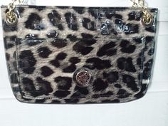Anne Klein Evening Cocktail Club Leopard Purse Handbag Multicolor Chain Handle #AnneKlein #EveningBag