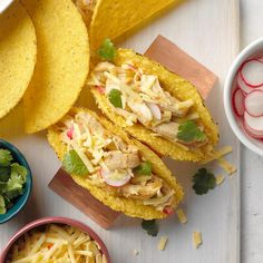 I was at my friend's bachelorette party the first time I had a beergarita, and I loved it! It was the inspiration for these delicious chicken tacos. I love that they have traditional taco flavors with a fun twist from the margarita! —Ashley Lecker, Green Bay, Wisconsin Chicken Taco Recipes, Chicken Tacos, Mexican Food Recipes, Mexican Meals, Chicken Feed, Chicken Meals, Slow Cooker Recipes, Crockpot Recipes, Cooking Recipes