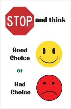 """Stop and Think"" Poster.my class had heard me talk about this ad nauseum this year! Elementary School Counseling, School Social Work, School Counselor, Elementary Schools, Classroom Behavior Management, Behaviour Management, Coping Skills, Social Skills, Life Skills"