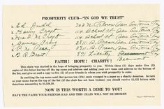"Chain Letter Scam - Prosperity Club - ""In God We Trust"" Strawman NAMES - Is this worth a dime to you?"