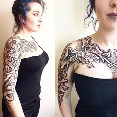 Sol and Skoll, and of course...lots of dragons! #viking #vikingtattoo #vikings #norse #nordic #nordictattoo #vikingwoman #shieldmaiden #dotwork #dotworktattoo #tattoo #tattoogirl #norsemythology #runes #bindrune #futhark