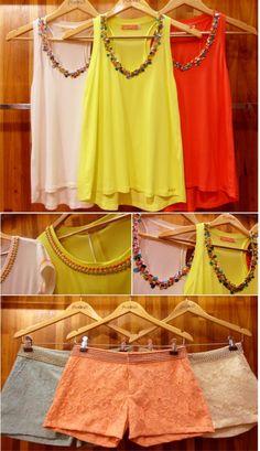 Tendencia confirmadissíma, cores tropicais, bordado em pedraria, e shortinho rendando para o verão 2013/14, imagem do blog Studio 21.